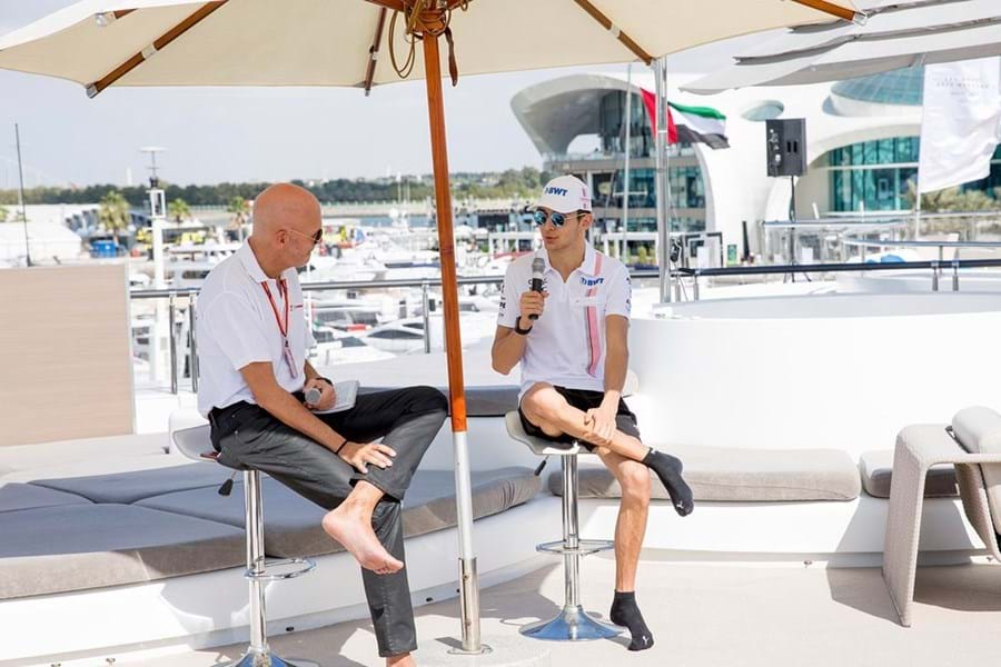 Esteban Ocon, then of Force India, gives an interview on board the yacht