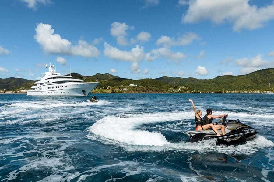 SECRET anchored off Carlisle Bay for some fast fun