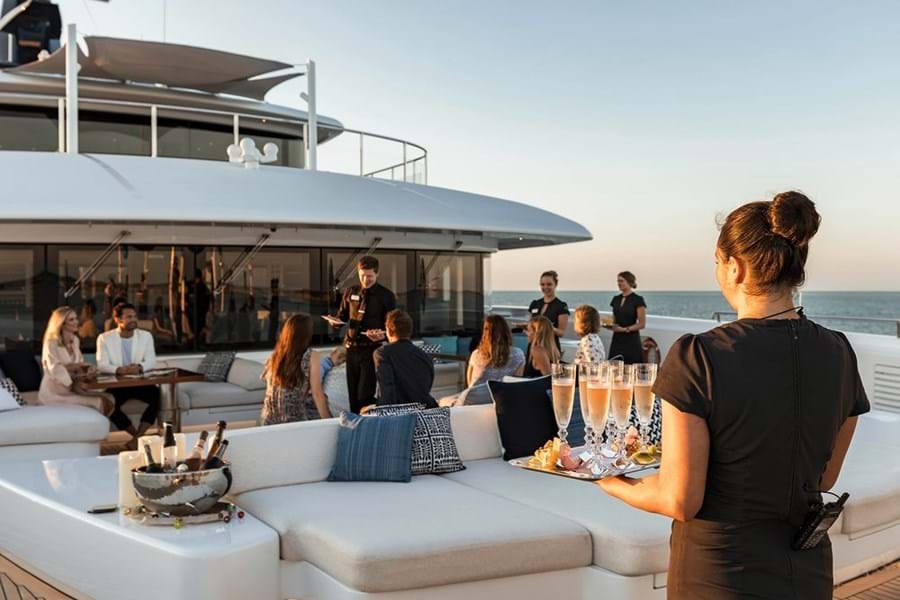 Many yachts' outside spaces are perfectly suited to entertaining