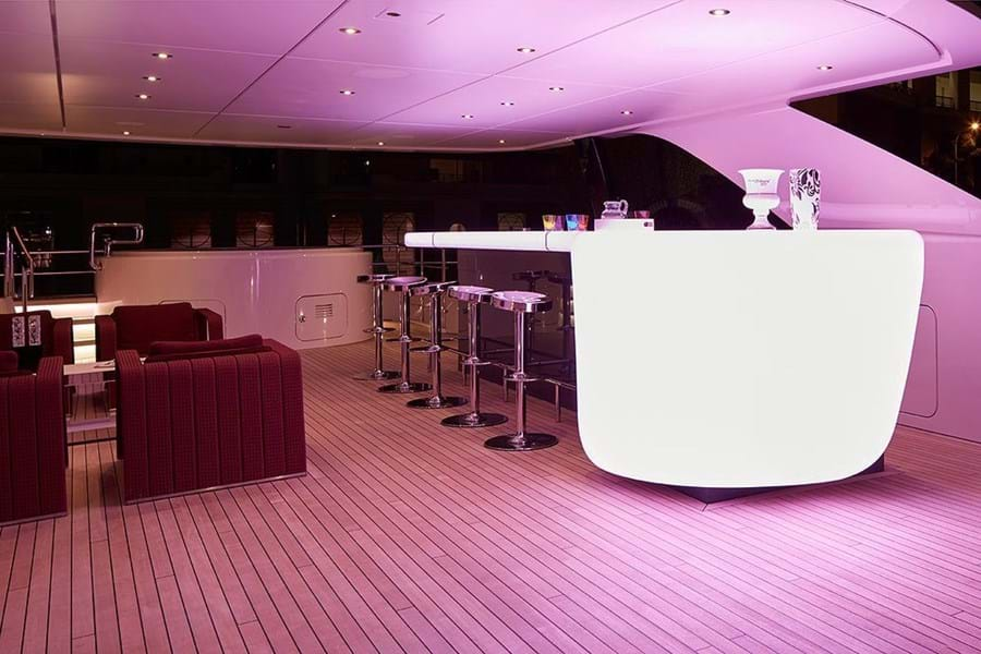 A showpiece bar, lounge and jacuzzi looking aft on the sun deck