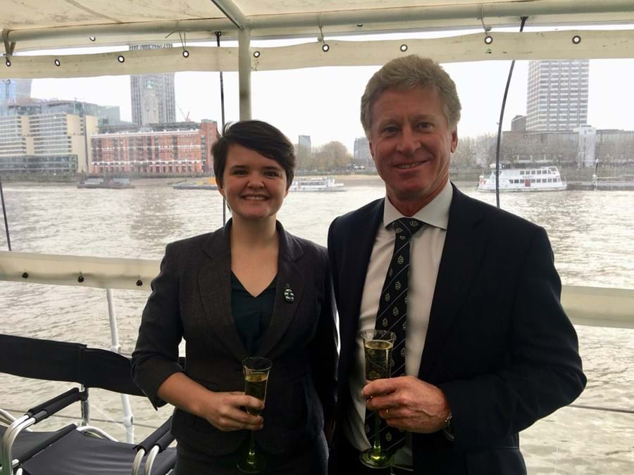Mentee Alice Kent with mentor Will Dallimore on board HQS Wellington at an HCMM event in London