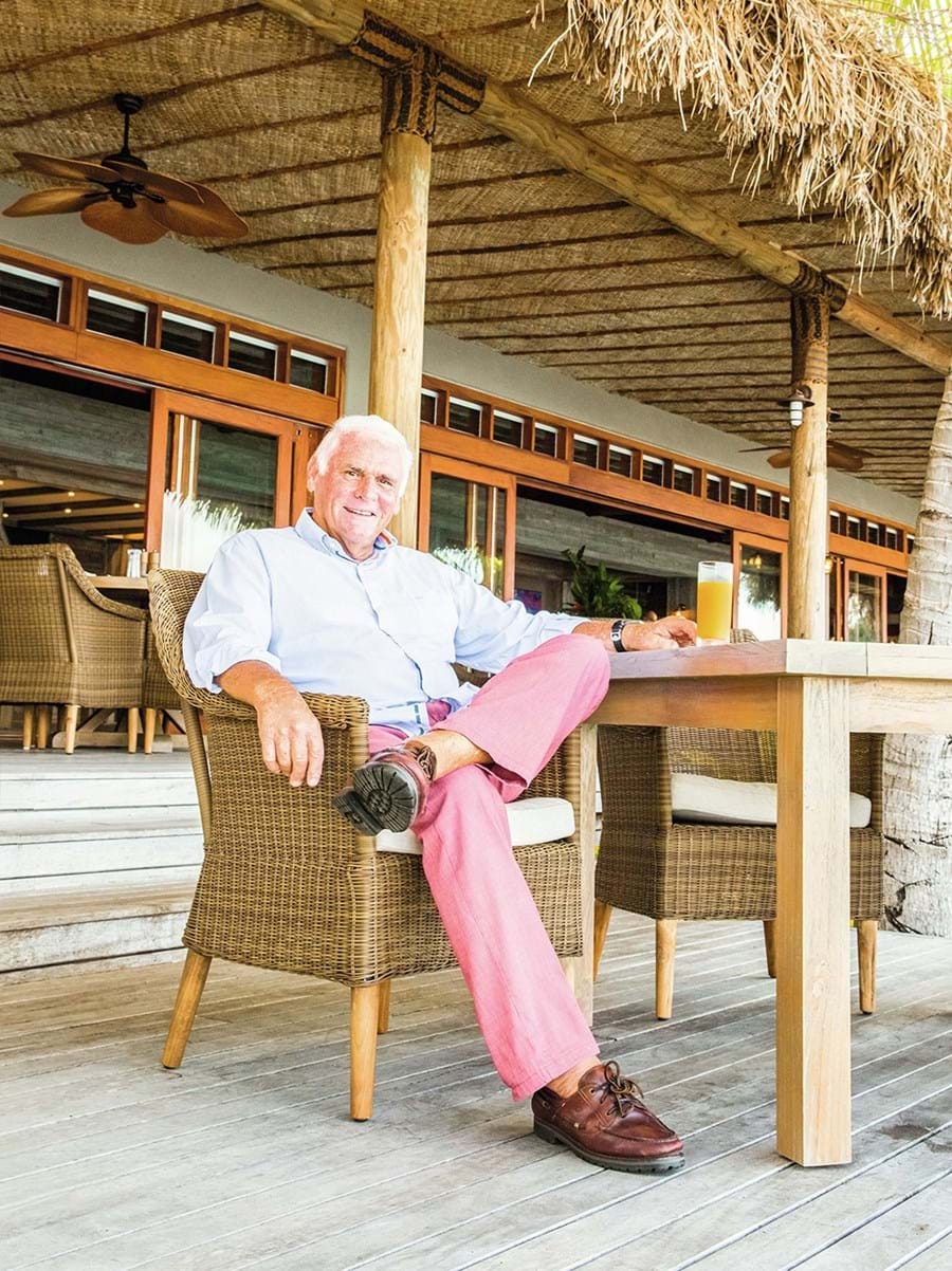 Lang Walker relaxing on his private island retreat in Fiji.