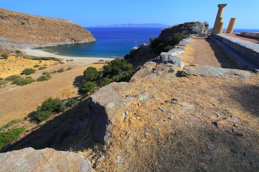 A short hike from Karthea Bay on Kea Island is a ruined temple