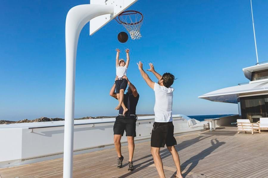 Play basketball, badminton or soccer on JOY's foredeck