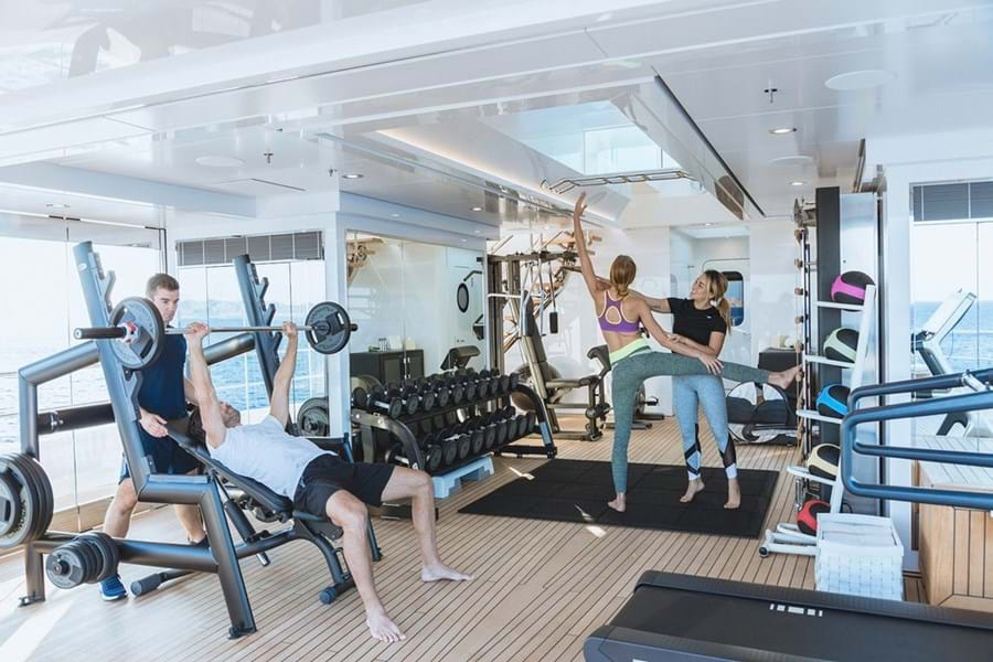 JOY's gym is fully equipped and includes a personal trainer