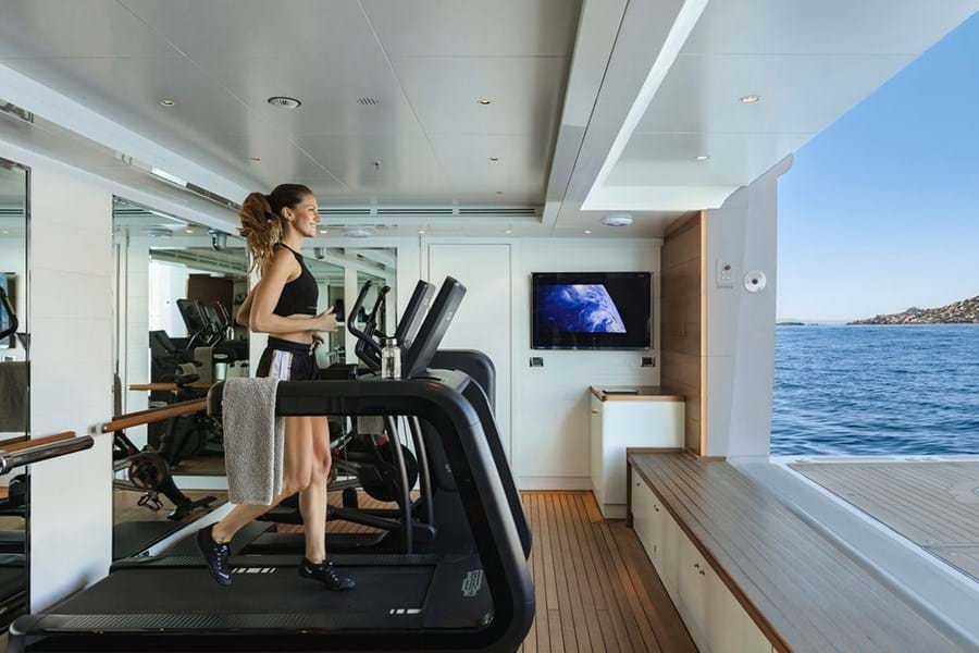 SEANNA's gym has incredible views over a sea terrace