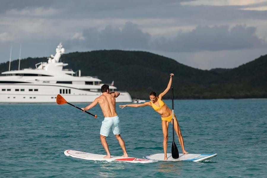 Stand up paddleboarding is excellent for core strength