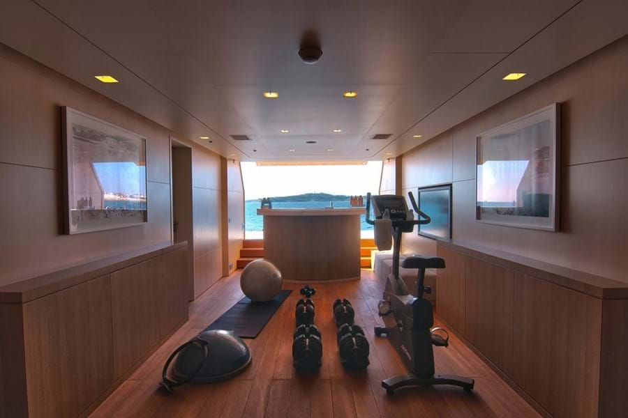 With the stern door open, SIREN's gym looks out over the sea
