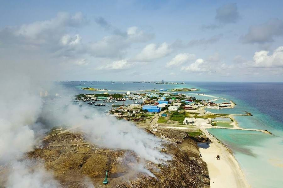 In places that lack the infrastructure for recycling and waste processing, like the Maldives, refuse is burned