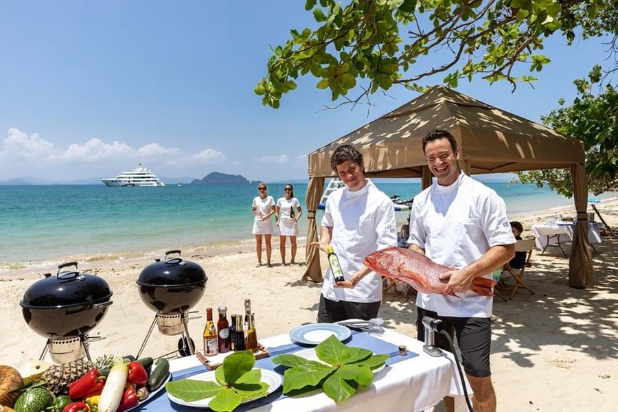 Many charter yachts have a full beach BBQ set-up