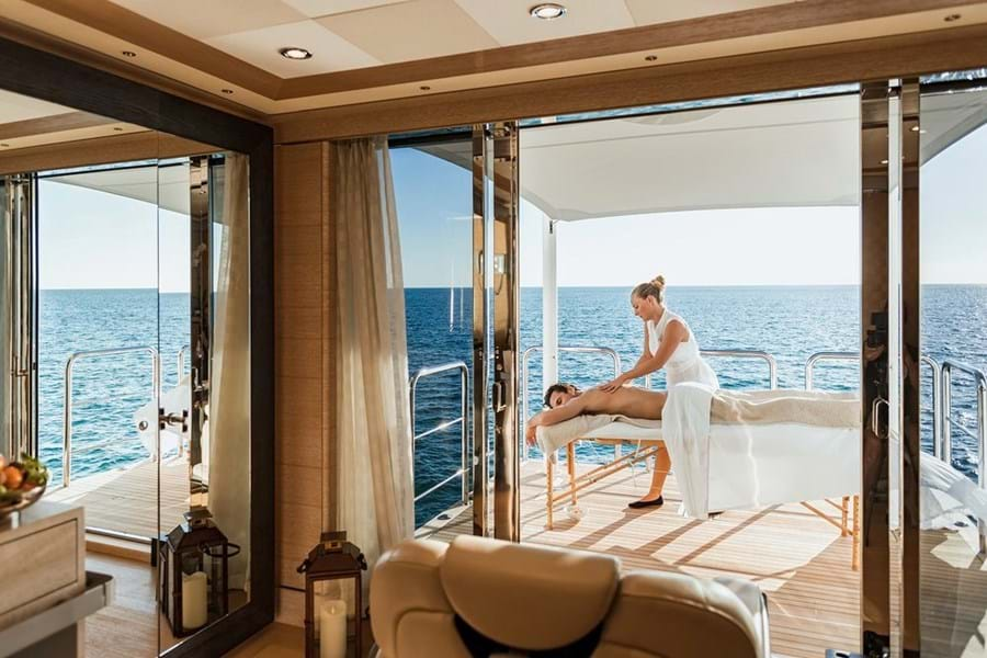 Many yachts have spas with masseuses, yoga instructers and physios on board