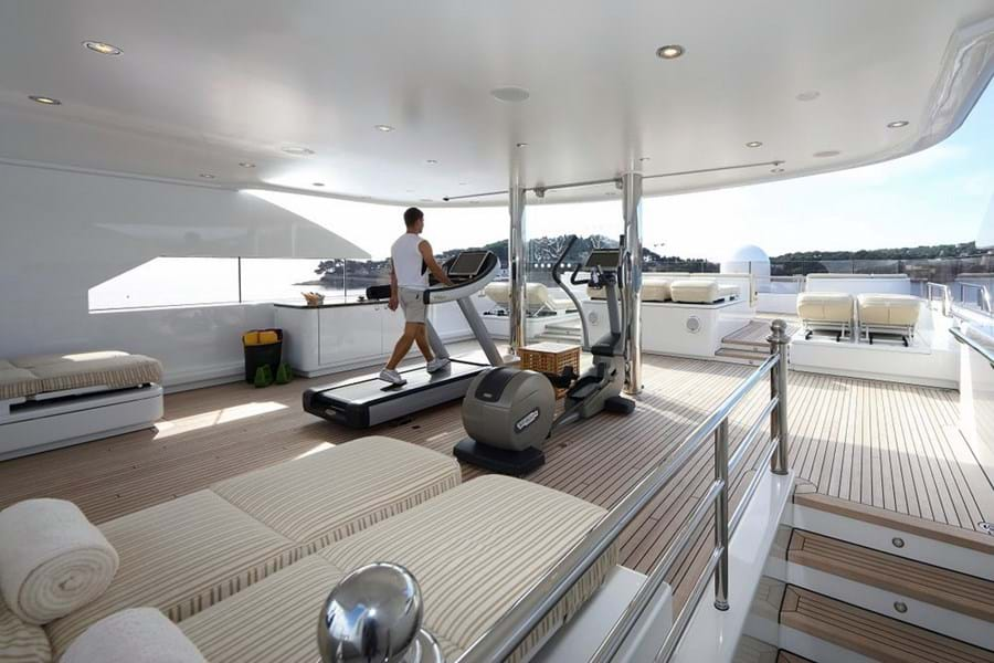 Even if they don't have a dedicated gym, most yachts will have exercise equipment on board
