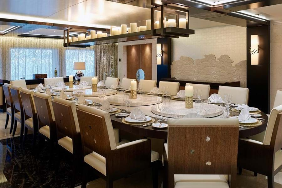 Formal dining area can be used as a conference room, main deck