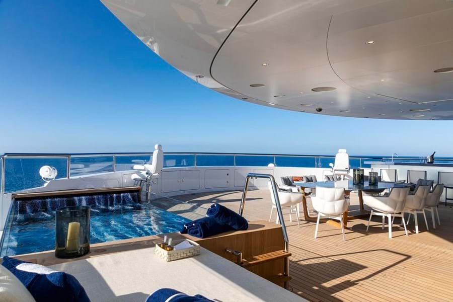 The glass-sided jacuzzi and sun lounge forward on the sun deck