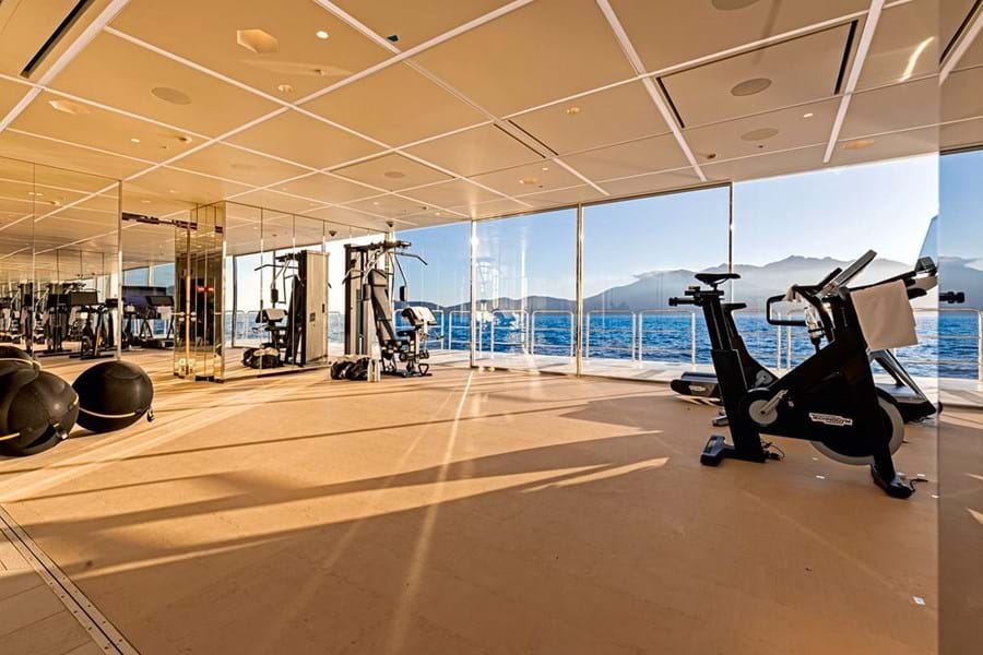 On the port side, opposite the swimming pool, is a vast gym with a sea terrace