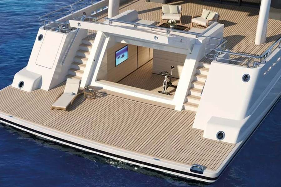 Large swim platform, main deck aft and beach club