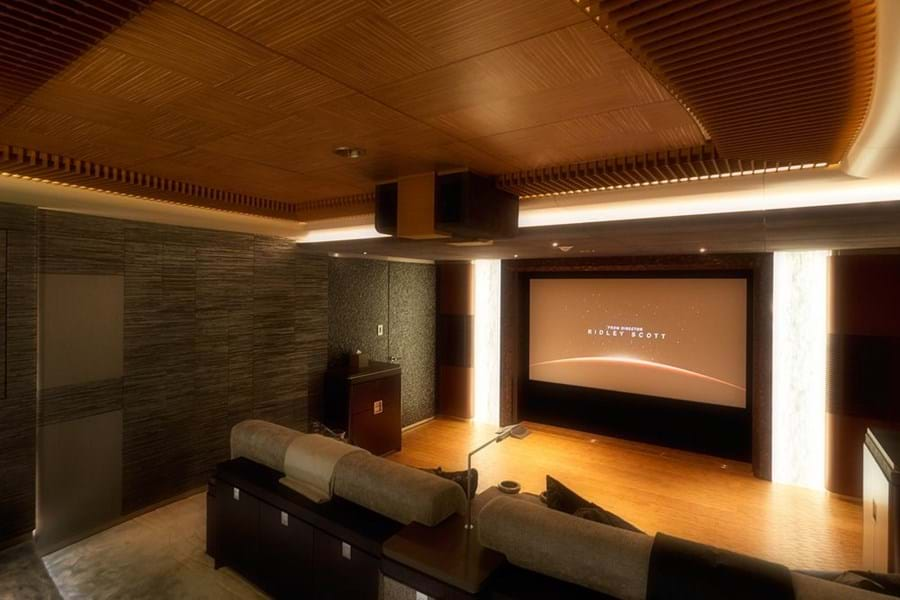 The lower deck is home to an eight-seat cinema...