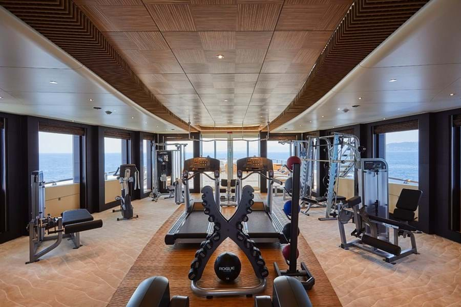 There's a vast climate controlled sun deck gym, fully equipped, with spectacular views to enjoy while you work out