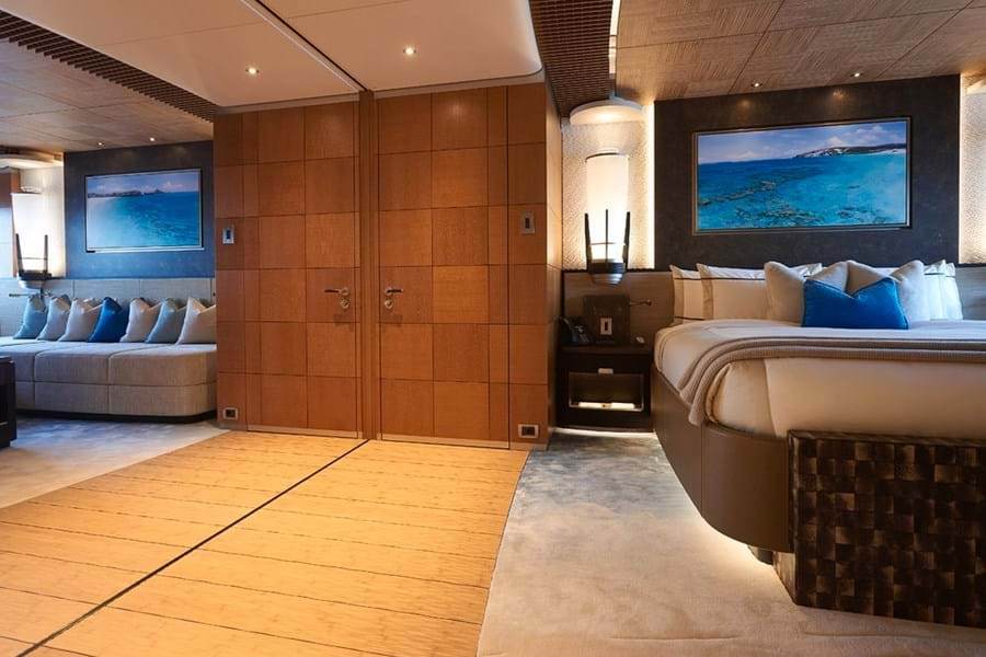 Forward on the main deck are two double cabins and these can be joined to create a full beam VIP suite
