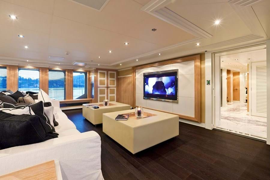 The media lounge forward in the main saloon showcases Verges' design