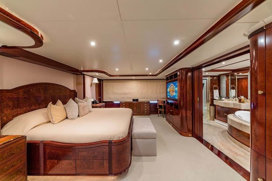Full beam main deck owner's suite with his and hers bathroom
