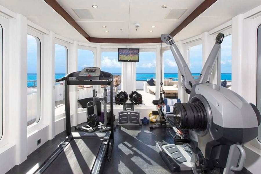 The sun deck's climate controlled gym