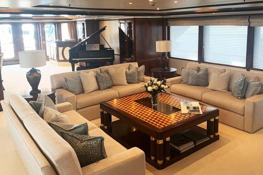 Looking aft in the main saloon, with formal dining table out of shot forward