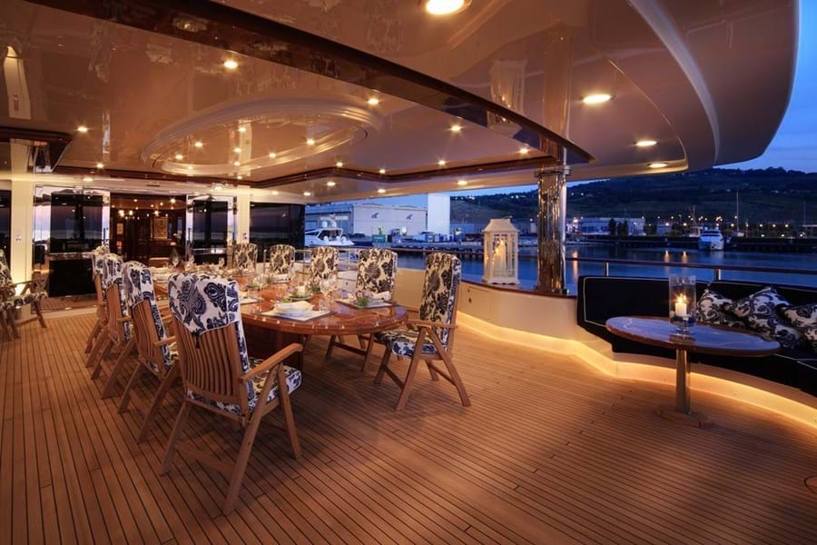 Open air dining on the spacious bridge deck aft