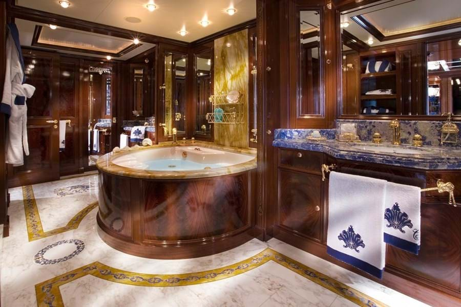 A circular hot tub features in the owner's bathroom