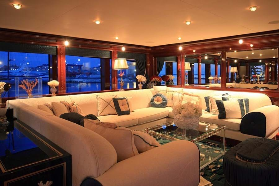 On the bridge deck aft is a full beam, relaxed, informal lounge with panoramic views