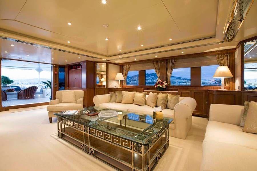 Looking aft in the main saloon with the formal dining area out of shot to the right