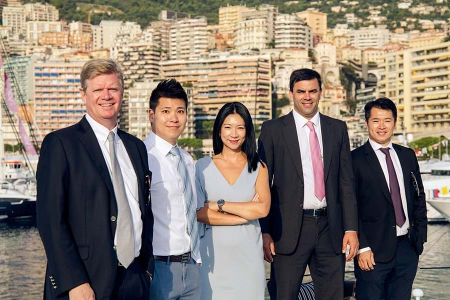 (L-R) Jean-Marc Poullet with his first four hires, all still with the company: James Tsui, Hwee Tiah, Mark Woodmansey and Joe Yuen