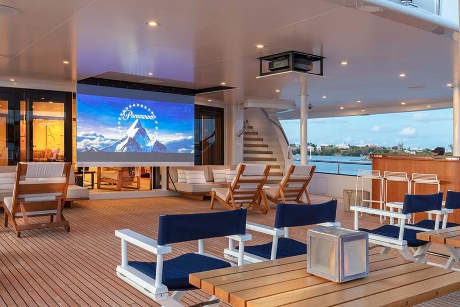 Outdoor cinema on the main deck aft