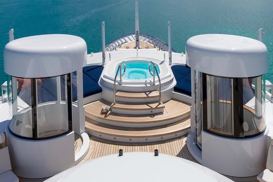 The shower, jacuzzi and elevator on the forward sun deck