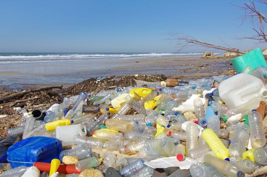Plastic washed up on a beach on the west coast of France following an Atlantic storm