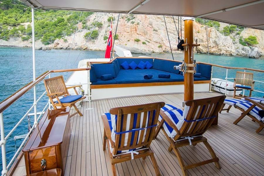 Sun loungers and a huge sunpad on the upper deck aft