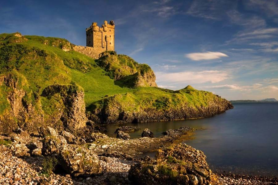 The sunlit ruins of Gylen Castle on the Isle of Kerrera