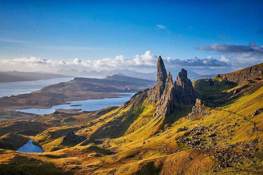 A breathtakingly beautiful scene of the Old Man of Storr on the Isle of Skye