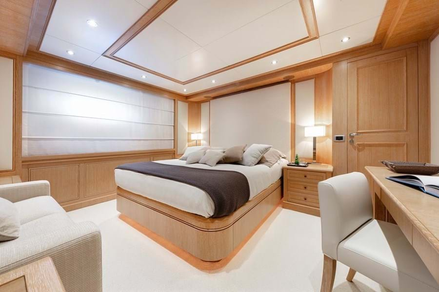 The lower deck has two double cabins and two twin cabins and both twins have an additional berth