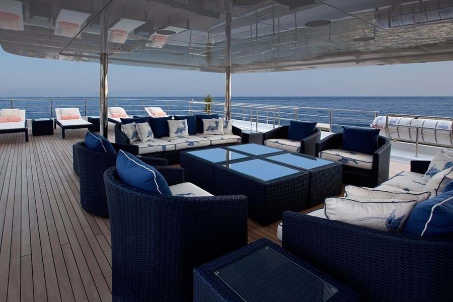 Looking aft on the sun deck