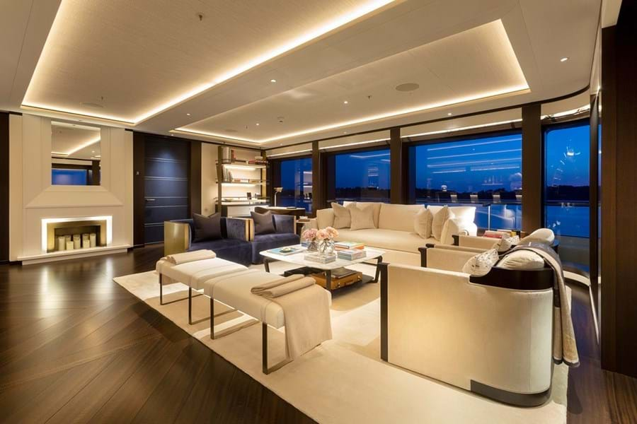 The sky lounge showcases her stylish interior design