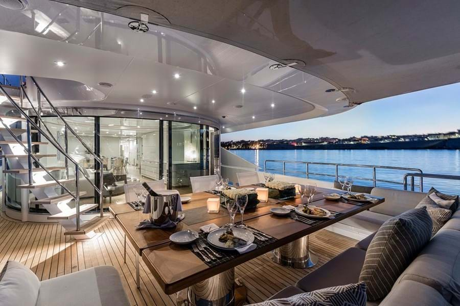 Open air dining on the main deck aft