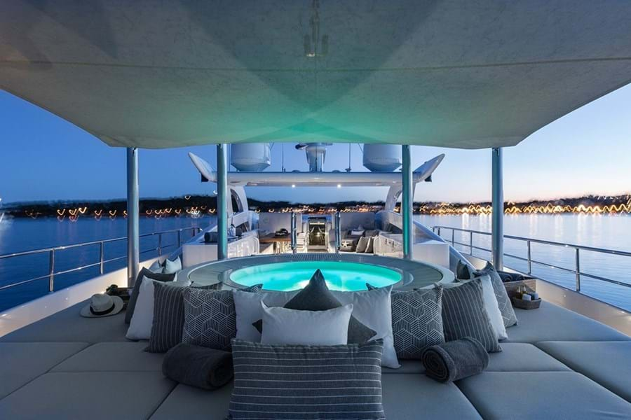 Aft sun deck jacuzzi and sun pads