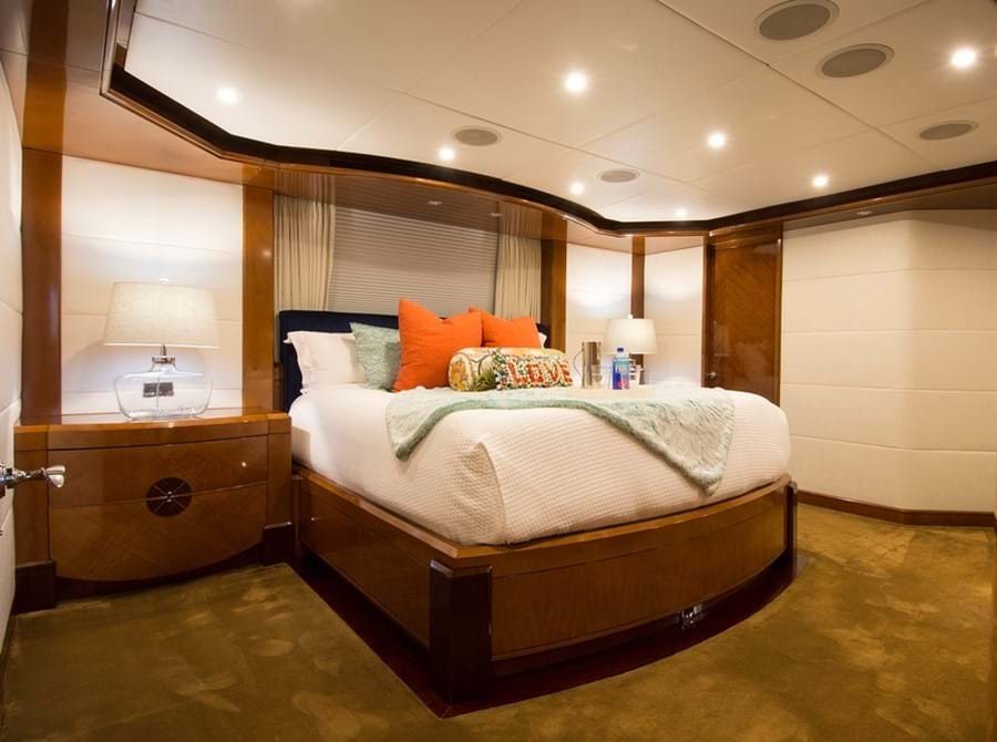 Forward on the main deck is a spacious owner's suite...