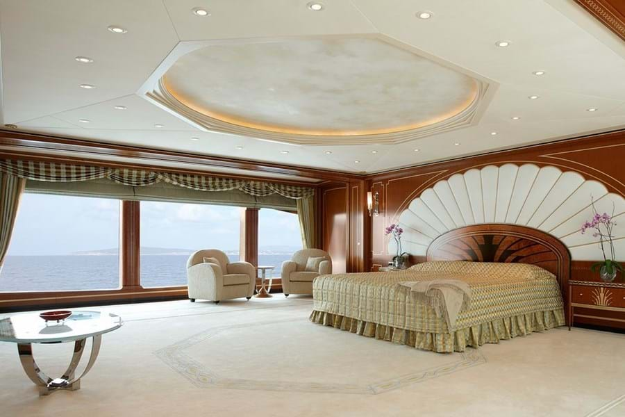 Vast master suite on a dedicated owner's deck