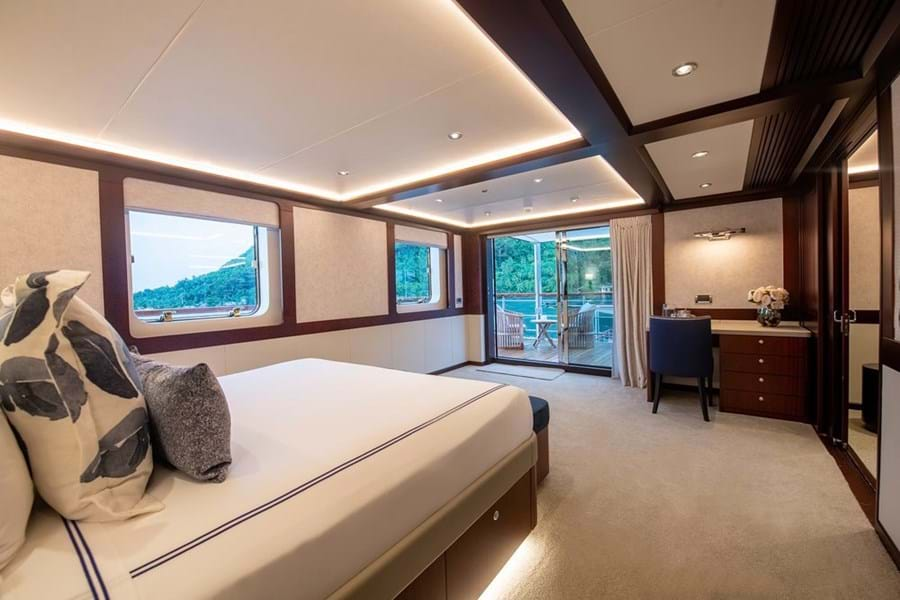 The aft facing owner's suite terrace overlooks the tender deck