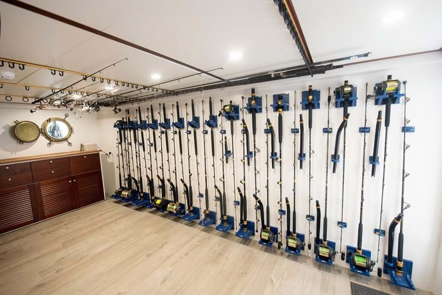 The well equipped fishing tackle room