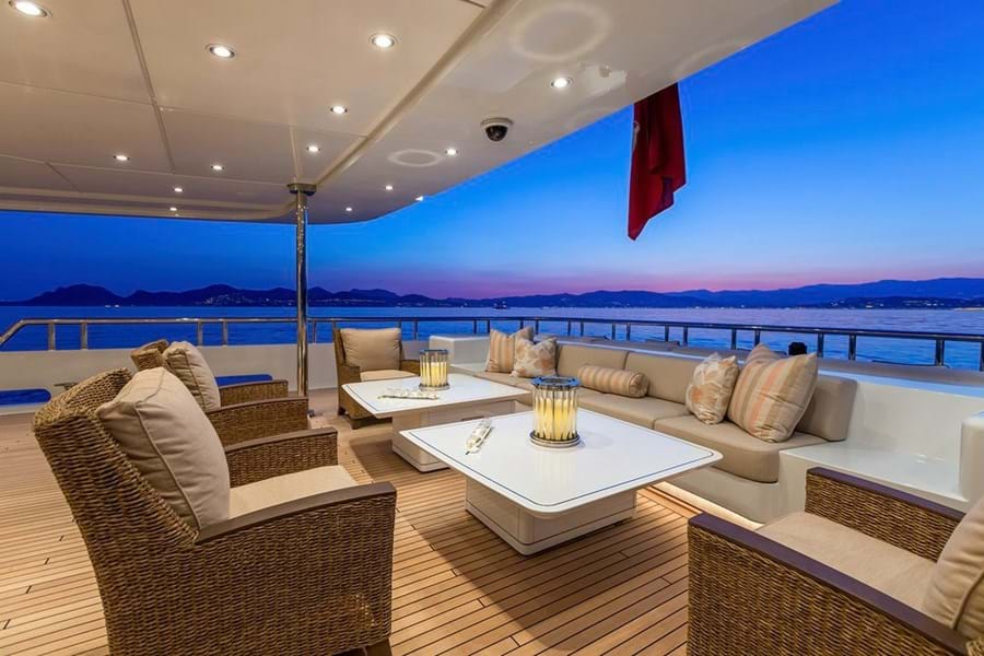 A lounge on the main deck aft