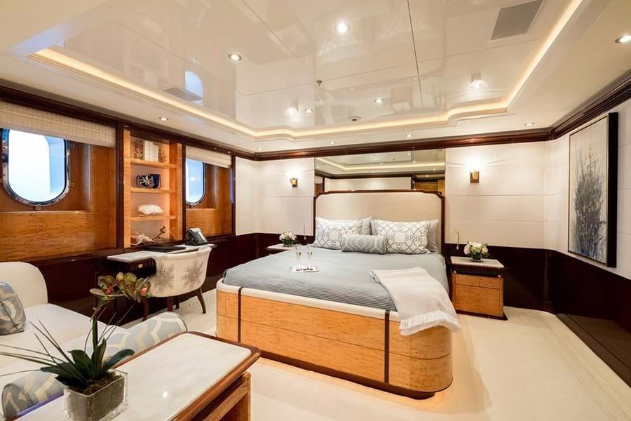 A VIP guest double cabin on the lower deck