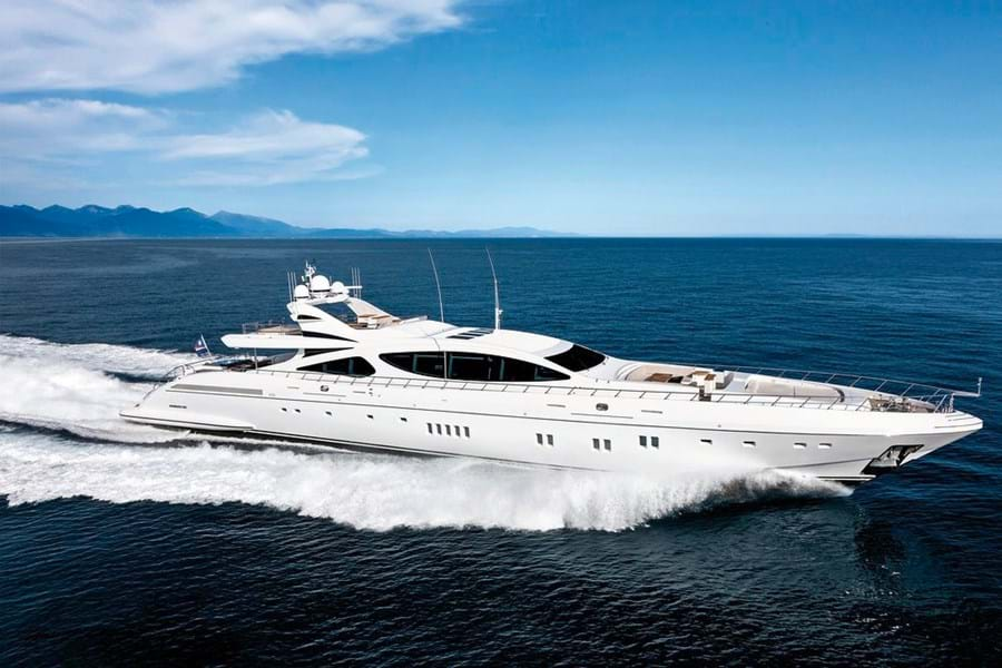 MISS MONEYPENNY V cruises at 27 knots and her top speed is 34 knots